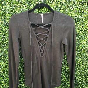 Free people lace upfront long sleeve top